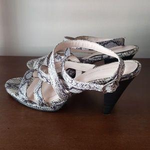 Andrew Geller snakeskin platform sandals GUC